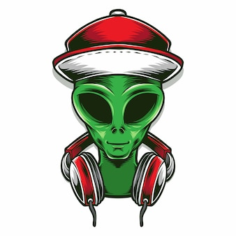 Alien hoofd met koptelefoon
