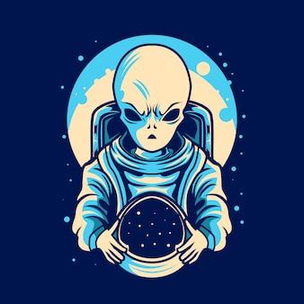 Alien houden astronaut helm illustratie