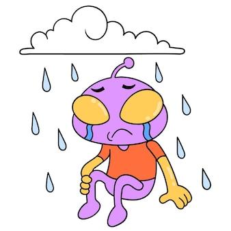 Alien huilt zittend in de stromende regen, vectorillustratiekunst. doodle pictogram afbeelding kawaii.