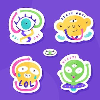 Alien illustratie sticker collectie