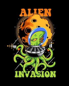 Alien invasion illustratie