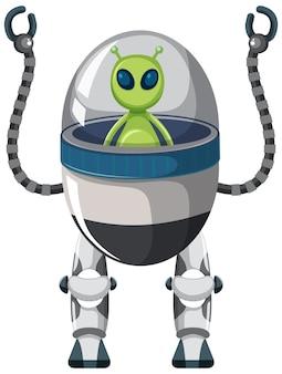 Alien op de robot op wit
