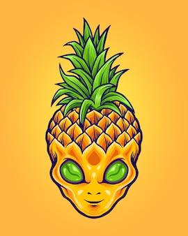 Alien pineapple mascot logo zomer Premium Vector