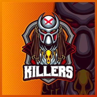 Alien predator killers mascotte esport logo ontwerpsjabloon illustraties, predator-logo