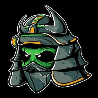 Alien samurai hoofd illustratie