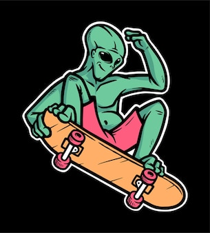 Alien skateboarden illustratie