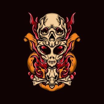 Alien skull illustraties