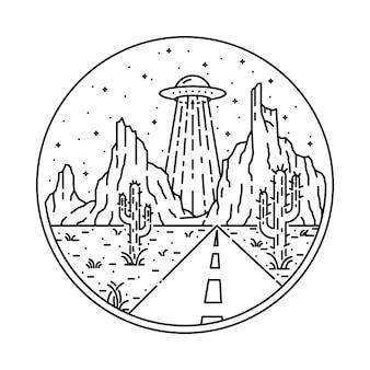 Alien ufo desert invasion line grafische illustratie art t-shirt design