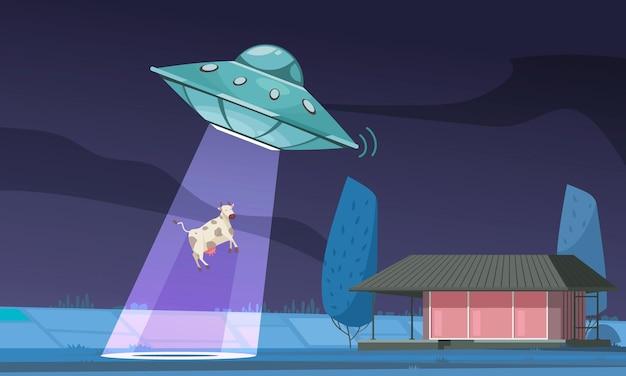 Alien ufo-koesamenstelling met buiten nachtzicht van veld en ufo-lichtstraal ontvoerende koe