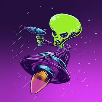 Alien vector villen met ufo