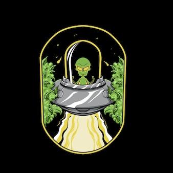 Alien vliegen ufo in een marihuana ingediende illustratie