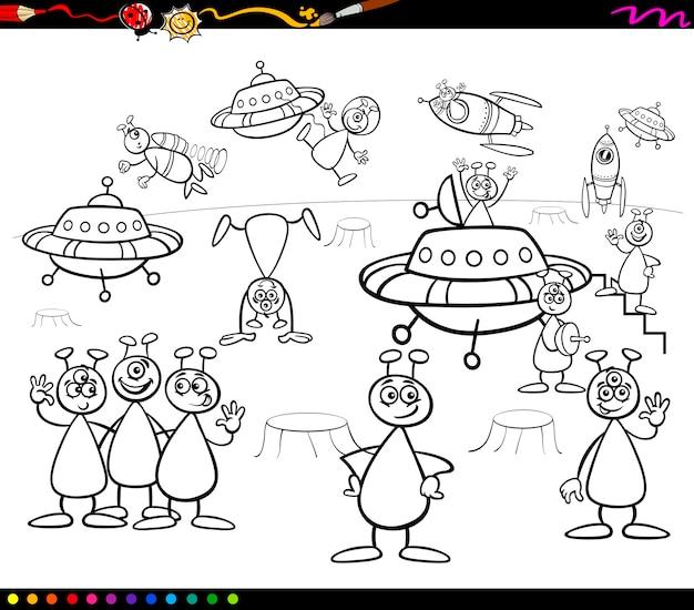 Aliens cartoon kleurboek