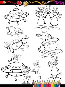 Aliens cartoon set voor kleuren boek