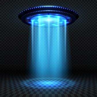 Aliens futuristisch ruimteschip, ufo met blauwe lichten. invasie vector concept. ufo-invasie, ruimteschip en blue ray illustratie