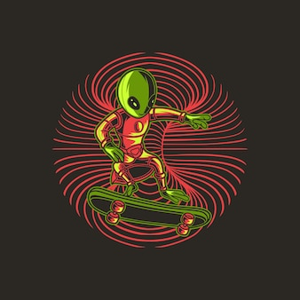 Aliens in stijl skateboard
