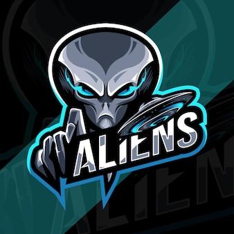 Aliens mascotte logo esport sjabloonontwerp