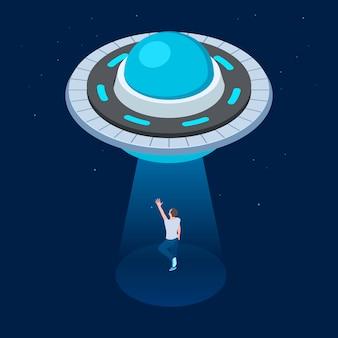 Aliens ontvoeren man. ufo isometrisch ruimteschip vliegen. ufo ontvoert man vectorillustratie