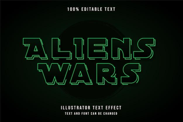 Aliens oorlogen, 3d bewerkbaar teksteffect groene gradatie neon schaduw tekststijl