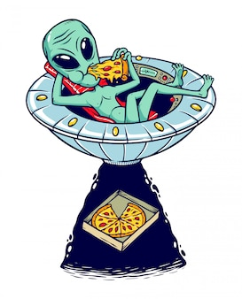 Aliens pizza illustratie