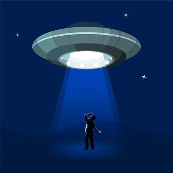 Aliens ruimteschip ontvoert de man onder de wolk van de nacht