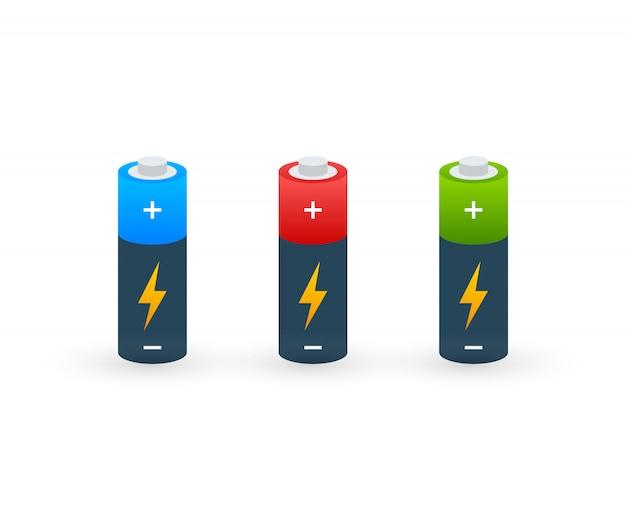 Alkaline batterijen realistische stijl set van verschillende grootte