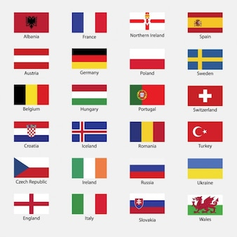 All country flags of euro cup