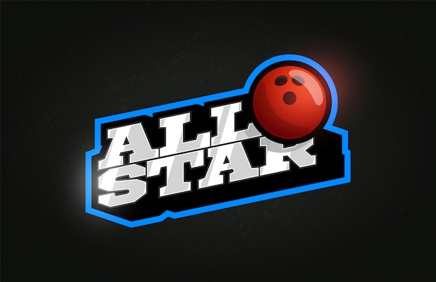 All star modern professioneel typografie bowlingbal sport retro-stijl embleem logo