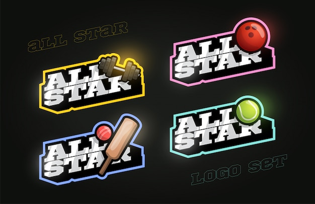 All star retro-stijl sport logo set