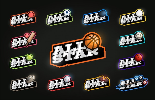 All star sport set. moderne professionele typografie sport retro-stijl