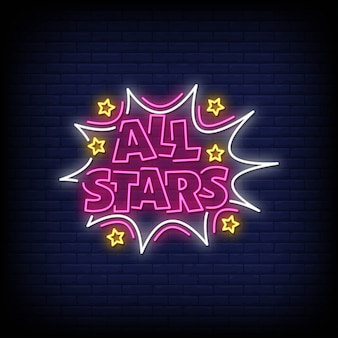 All stars neon signs style text