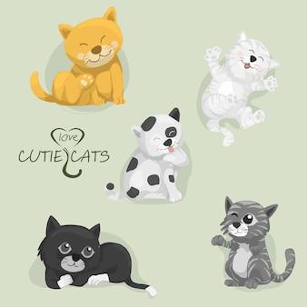 Alle cartoon cutie katten, set cartoon katten, vector