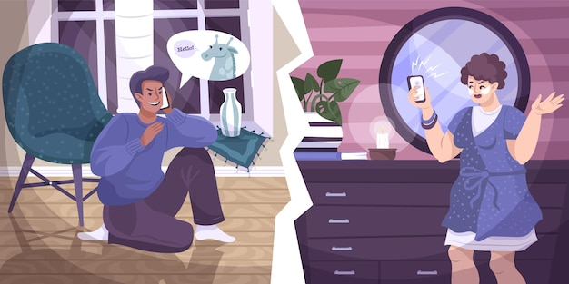 Alle dwazen bellen een platte compositie met mannelijke en vrouwelijke menselijke karakters binnen tijdens de prank call-illustratie