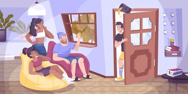 Alle dwazen deur platte compositie met binnenlandschap van woonkamer met groep jonge vrienden illustratie