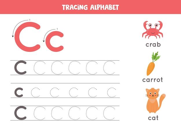 Alle letters van het engelse alfabet traceren. voorschoolse activiteit voor kinderen. hoofdletters en kleine letters c schrijven. leuke illustratie van dolfijn. afdrukbaar werkblad.