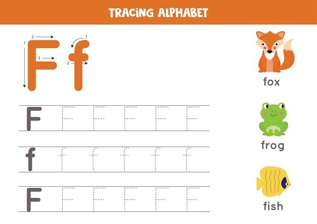 Alle letters van het engelse alfabet traceren. voorschoolse activiteit voor kinderen. hoofdletters en kleine letters f schrijven. leuke illustratie van vos, kikker, vis. afdrukbaar werkblad.
