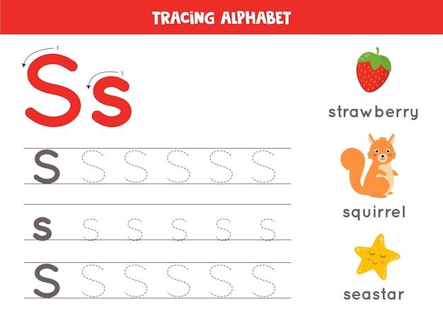 Alle letters van het engelse alfabet traceren. voorschoolse activiteit voor kinderen. hoofdletters en kleine letters schrijven s. leuke illustratie van eekhoorn, aardbei, zeester. afdrukbaar werkblad.