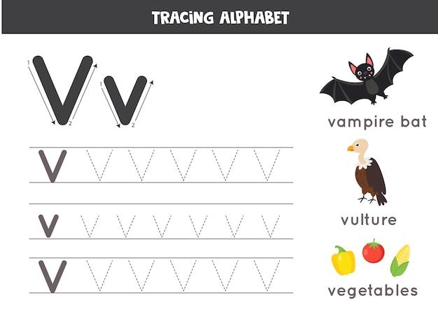 Alle letters van het engelse alfabet traceren. voorschoolse activiteit voor kinderen. hoofdletters en kleine letters schrijven v. leuke illustratie van gier, groente, vampier. afdrukbaar werkblad.