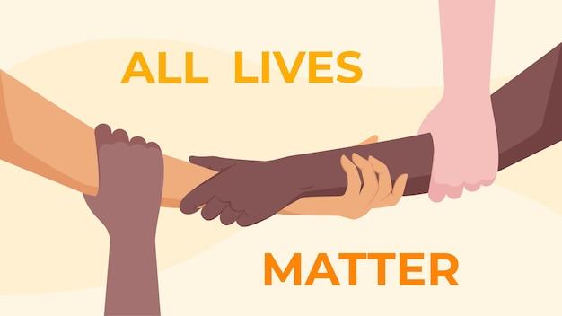 Alle levens zijn belangrijk - verschillende mensen sluiten zich aan bij de stop racismebeweging die hun armen vasthouden