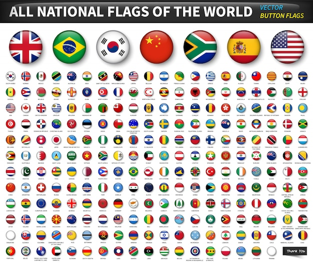 Alle nationale vlaggen van de wereld. cirkel bolvormig knopontwerp. elementen vector