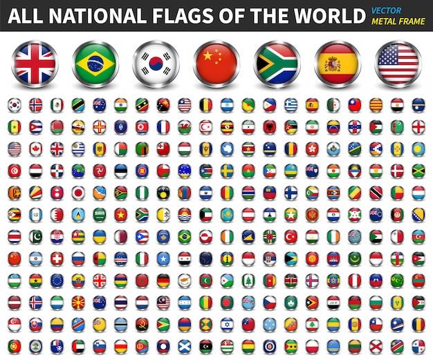 Alle nationale vlaggen van de wereld. cirkel metalen frame met schittering