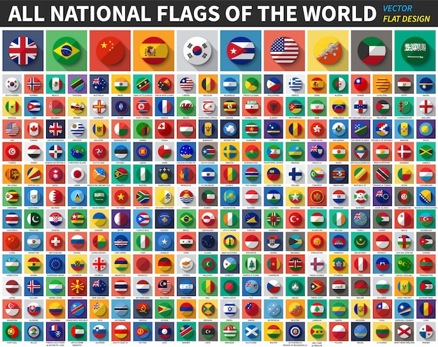 Alle nationale vlaggen van de wereld. egale kleur en lang schaduwontwerp. vector