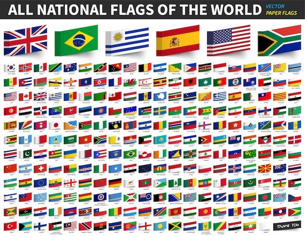 Alle nationale vlaggen van de wereld. ontwerp van de vlag van klevend papier