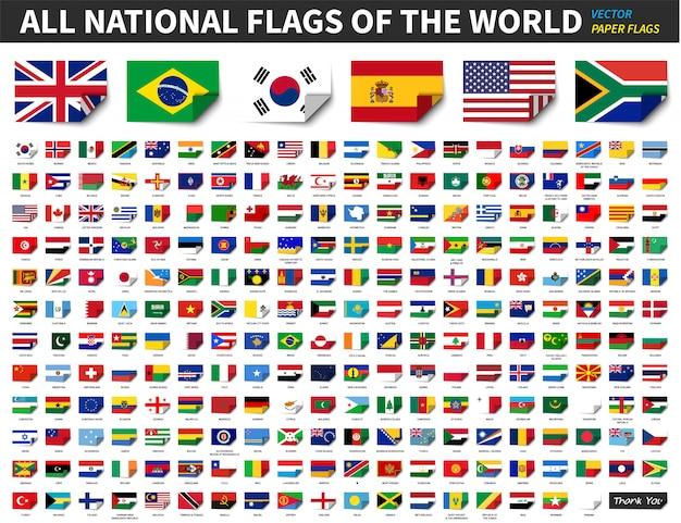 Alle nationale vlaggen van de wereld. papierontwerp met bocht in de hoek. elementen vector