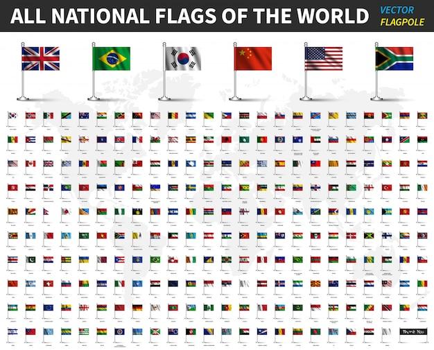 Alle nationale vlaggen van de wereld. realistische, zwaaiende stof met vlaggenmast