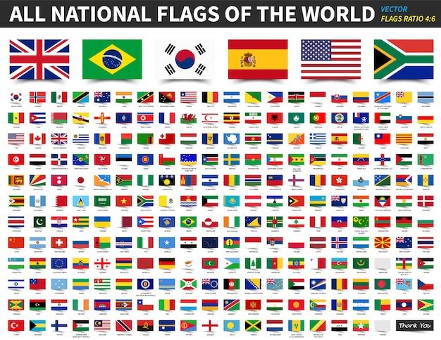 Alle nationale vlaggen van de wereld. verhouding 4: 6 ontwerp met zwevende kleverige papieren stijl.