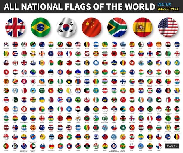 Alle nationale vlaggen van de wereld. wapperende cirkel vlag ontwerp