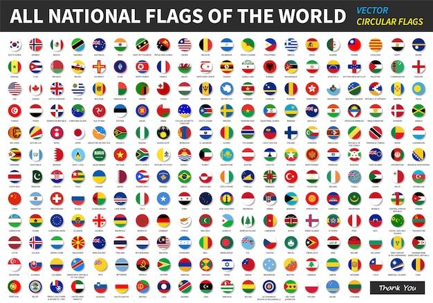 Alle officiële nationale vlaggen van de wereld.
