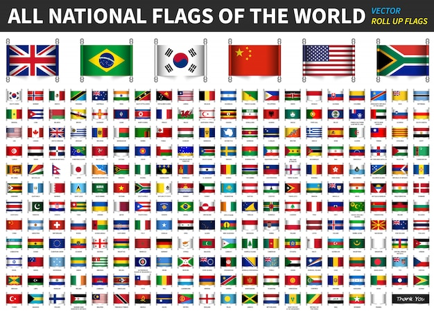 Alle officiële nationale vlaggen van de wereld