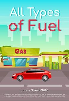 Alle soorten brandstof poster platte sjabloon. benzine navulling voor auto's. diesel en petroleum voor voertuigen. brochure, boekje conceptontwerp van één pagina met stripfiguren. tankstation flyer, folder