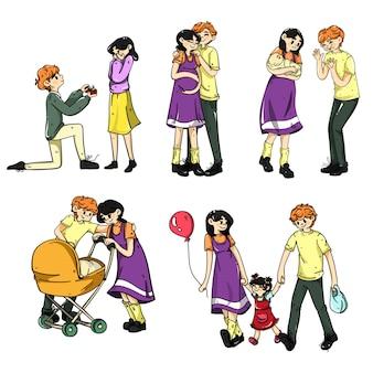 Alle stadia van het stichten van een gezin van geschenkbloemen tot het opvoeden van een kind kleur cartoon vector